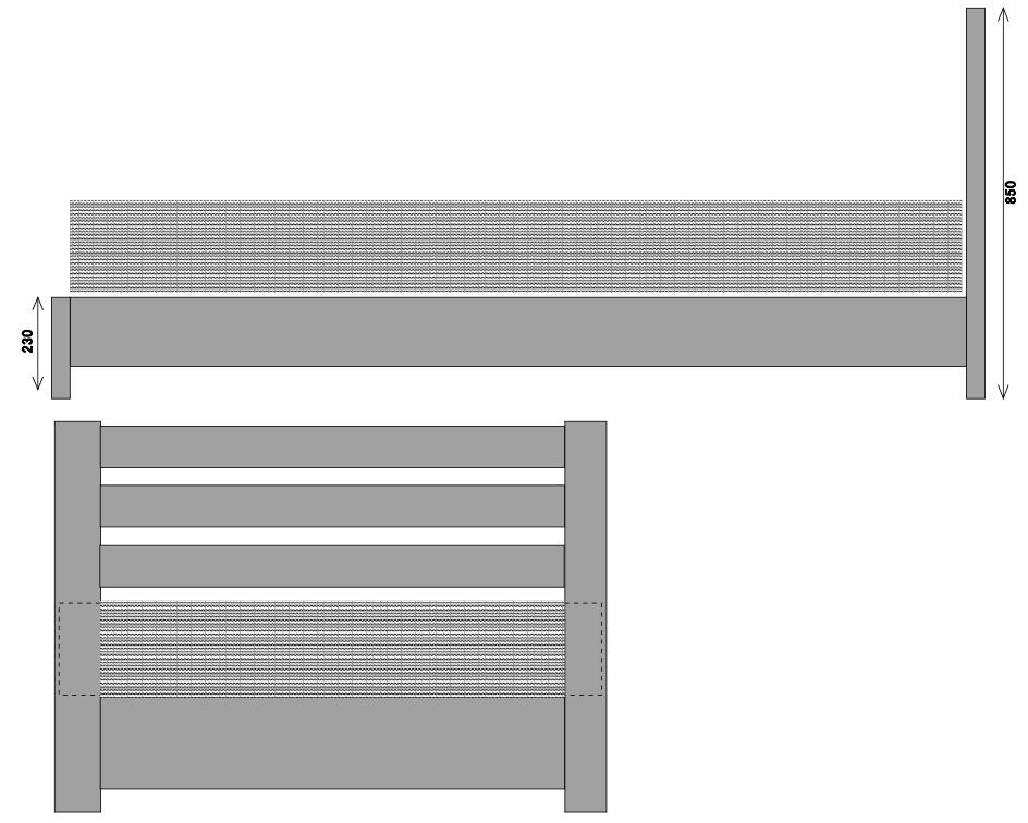 ベッドフレーム設計図(立面図)