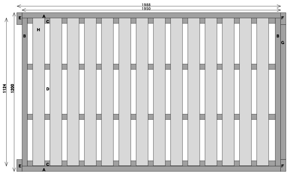 ベッドフレーム設計図(平面図)