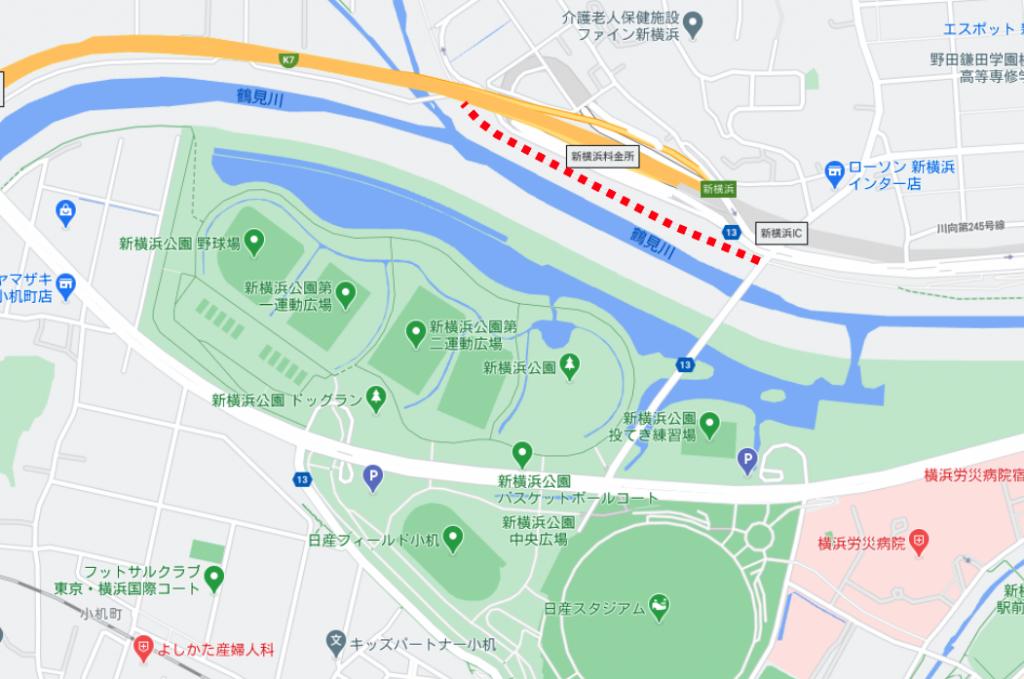 舗装される場所の地図