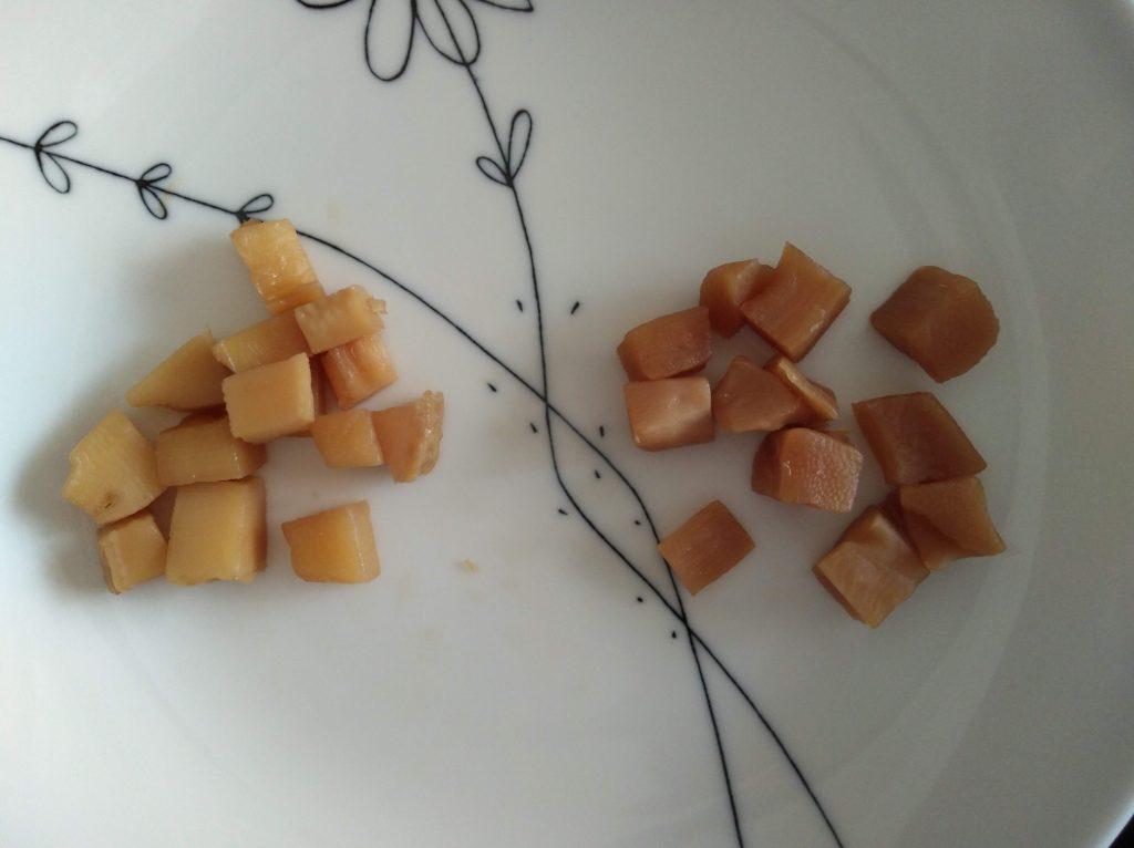 自作のタケノコ煮とシウマイ弁当の筍煮