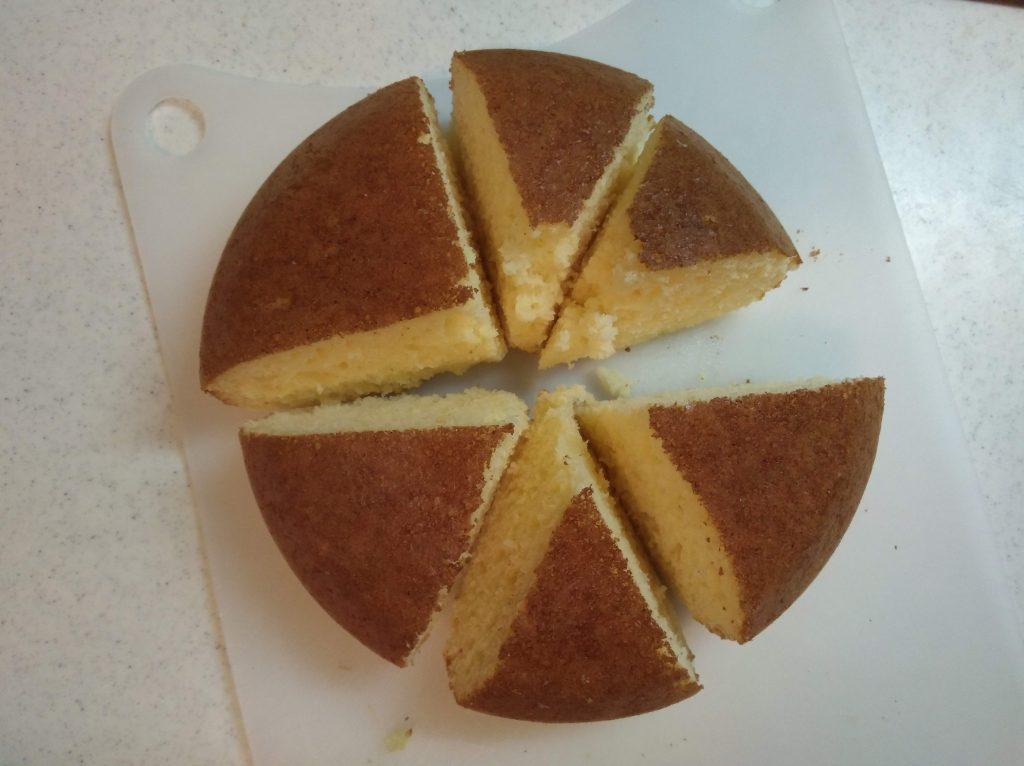 3通りに切り分けたパンケーキ